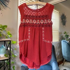 Free People burgundy embriodered shirt